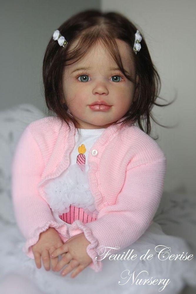 Reborn toddler doll kit Sally by Regina Swialkowski , micro-rooting human hair