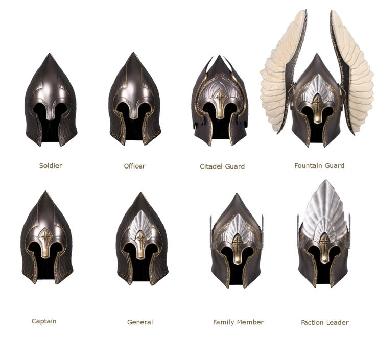 Gondorian Helmets. The fountain guard helm. Just think about running with that helm on and wind resistance.  What a pain in the neck.