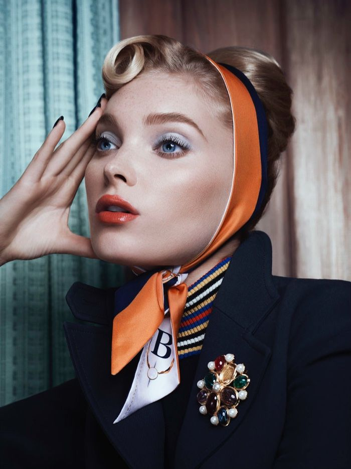 Elsa Hosk looks retro glam in frosty eyeshadow and glossy lip color