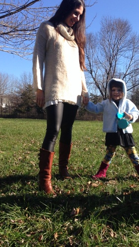 Faux Leather Leggings Look Awesome On Mom at the Playground