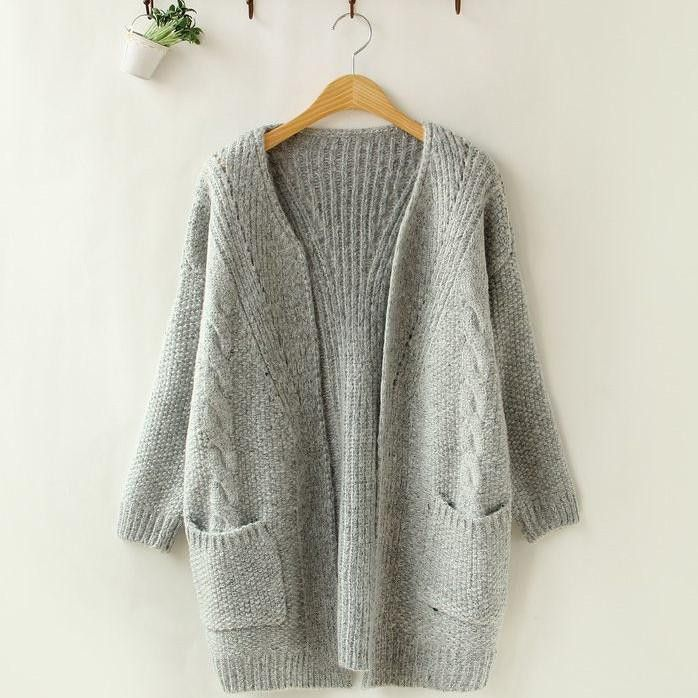 Soft Comfortable Knitted Long Sleeve Pocketed Open Front Sweater 4 Colors One Size