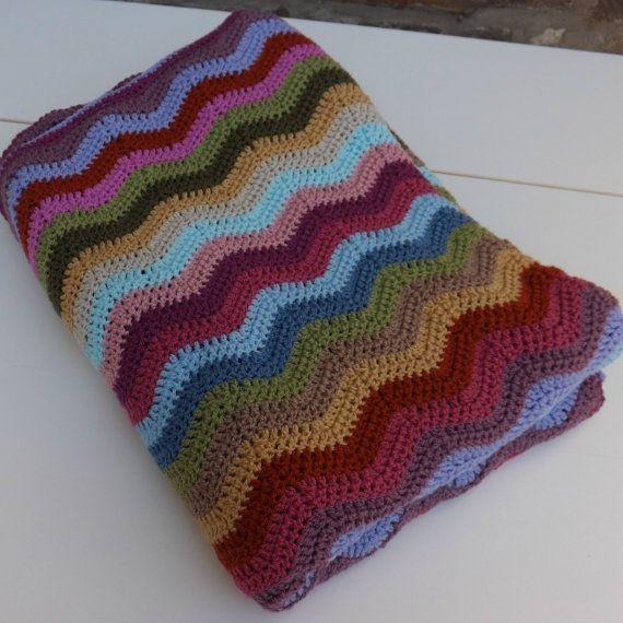 Ripple Crochet Blanket/Afghan in Rainbow by KnitKnacksbySharon