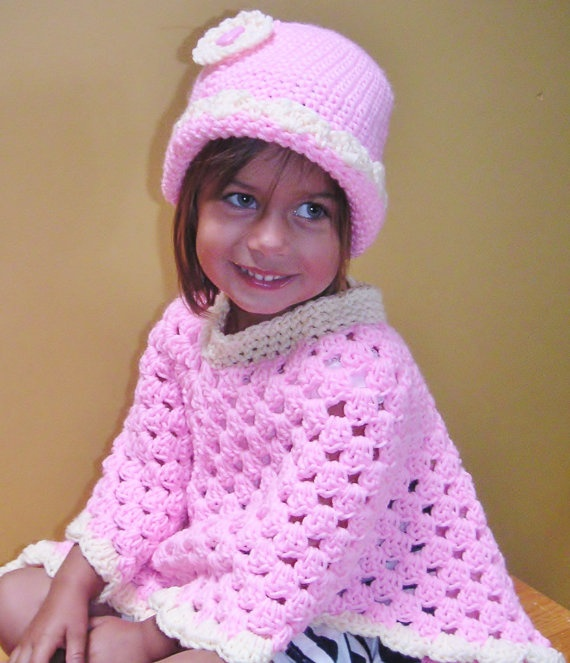Crochet Toddler Poncho with Matching Hat by LynnsCreativeCrochet, $30.00
