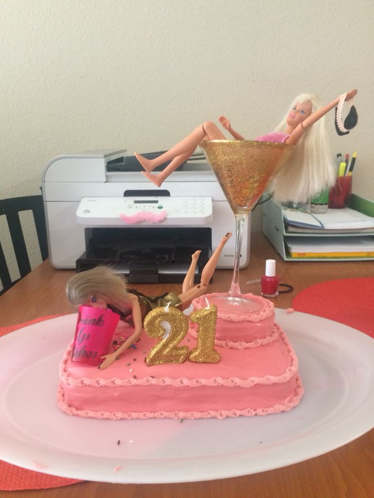 Drunk Barbie cake for my roommate's 21st