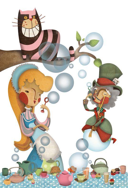 Alicia en el país de las Maravillas Ilustración infantil de Elena Catalán.