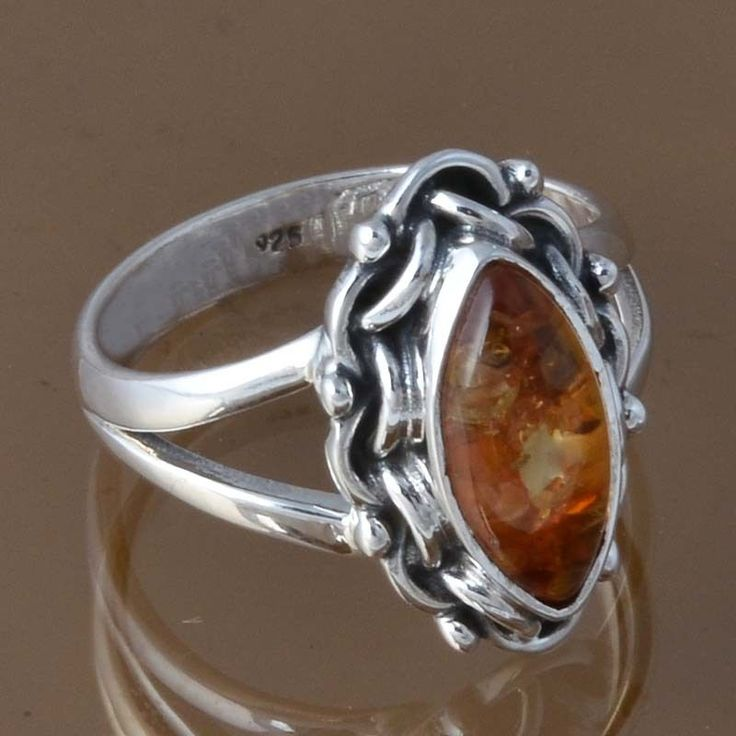 925 SOLID STERLING SILVER SYNTHTIC AMBER RING JEWELLERY 4.32g DJR8358 SZ-7.5 #Handmade #Ring