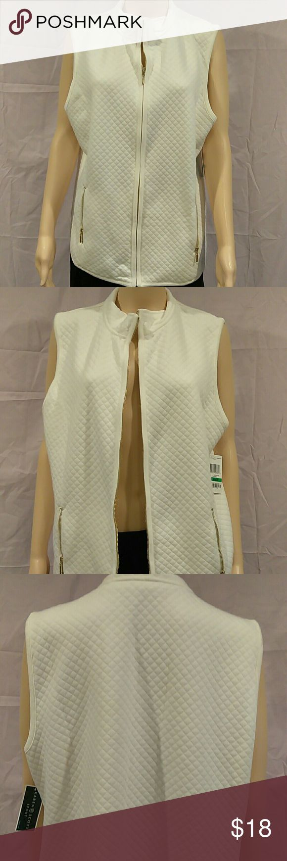 Karen Scott Mini Quilted Zip Front Vest NWT..Please see reasonable offer chart. A mini quilted vest withA from gold zipper in the middle. Each from side has a gold zipper packet. Bust is 44' and length is 25'. Material is 60% cotton and 40% polyester.  2 Karen Scott Jackets & Coats Vests