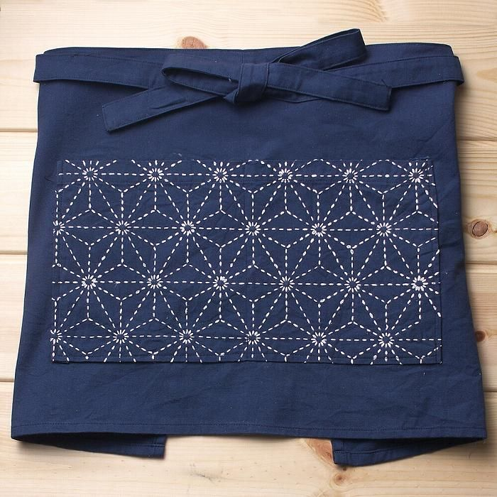 sashiko cafe apron - LOVE