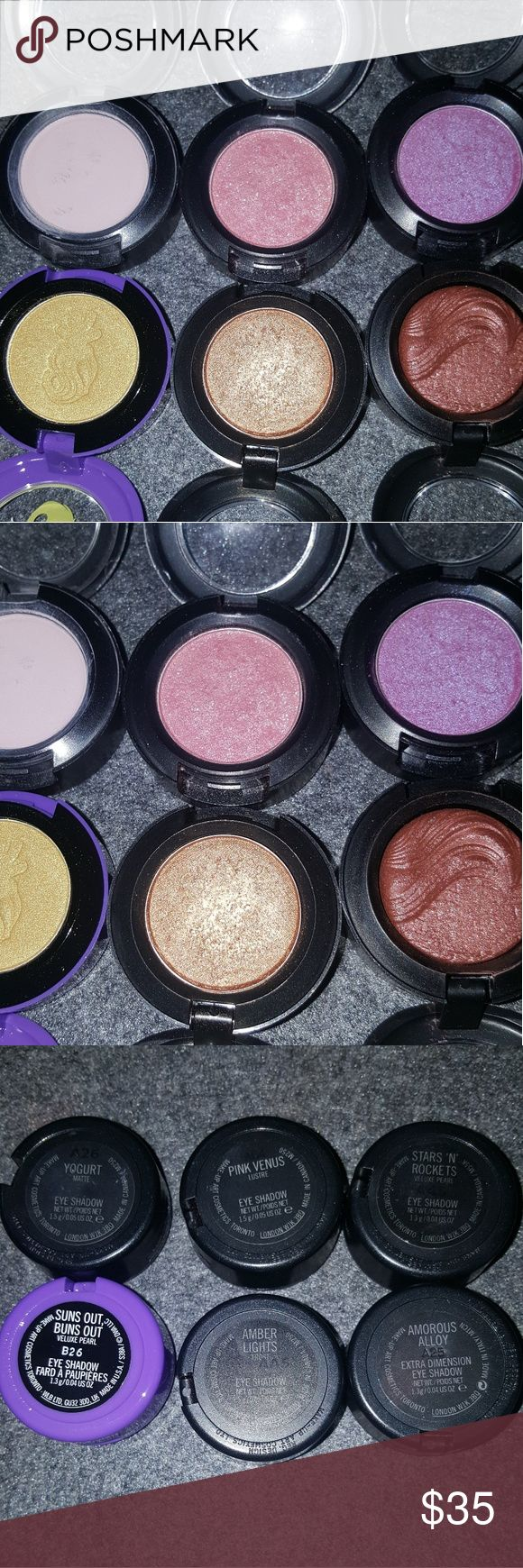 MAC Eyeshadow Singles Bundle EUC MAC Cosmetics eyeshadow singles bundle. All authentic, purchased at MAC retailers. All are hardly used and sanitized, none have even come close to pan. Will not separate, will not trade. Shades are Yogurt, Pink Venus, Stars and Rockets, Suns Out Buns Out, Amber Lights, and Amourous Alloy. Thank you! MAC Cosmetics Makeup