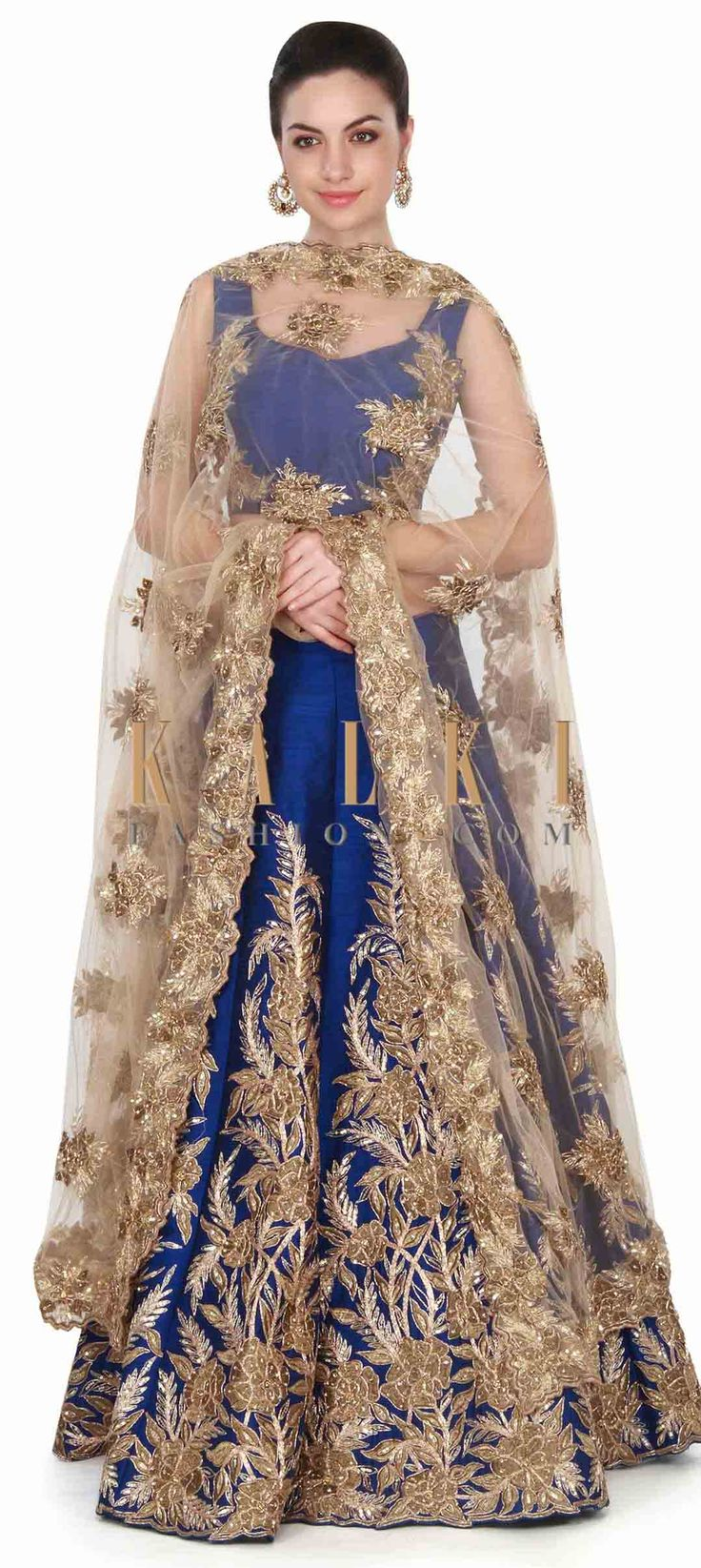 Buy this Royal blue lehenga adorn in rose motif embroidery only on Kalki