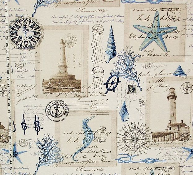 Pillows Nautical lighthouse fabric vintage postcard French writing from Brick House Fabric: Novelty Fabric