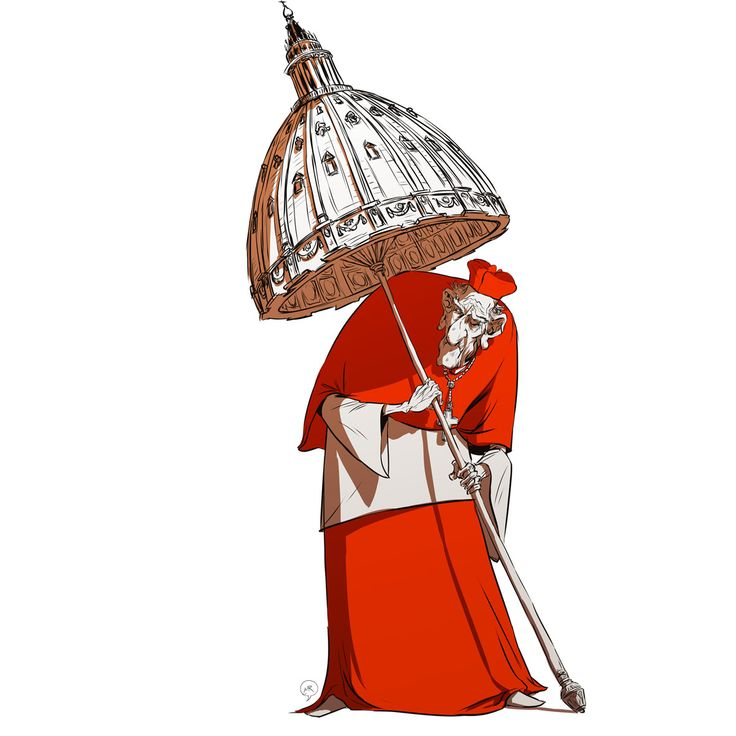 Day 71: The Covering of God  #mittroshin #illustration #characterdesign #cardinal #saint peter`s_basilica #god`s_cover #vatican