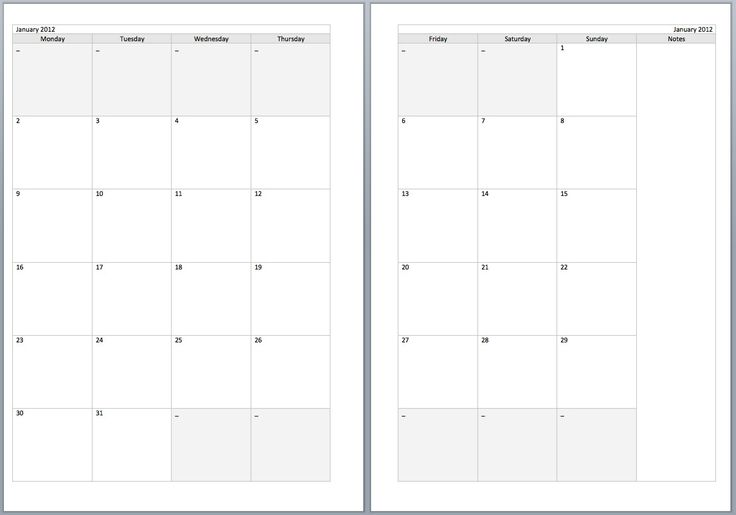 Free Monthly Filofax diary templates for A5 and Personal sizes - microsoft word diary template