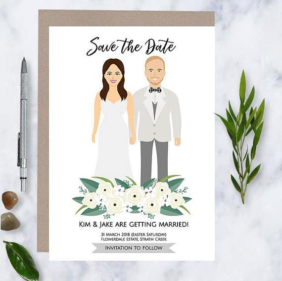 Save the Date Custom Illustration Original Save the Date - save the forest Illustration