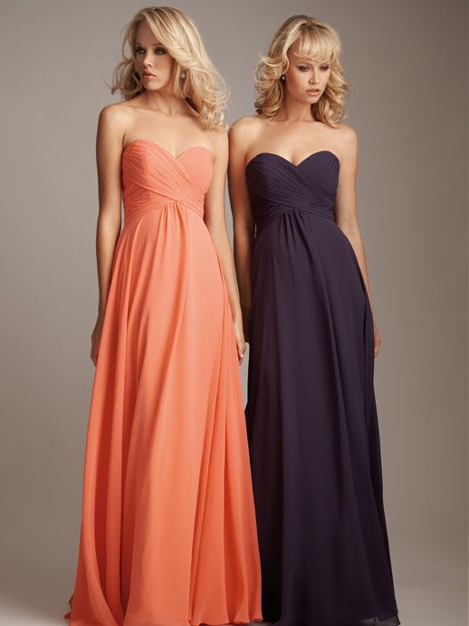 fashionable A-line empire waist chiffon dress for bridesmaids.