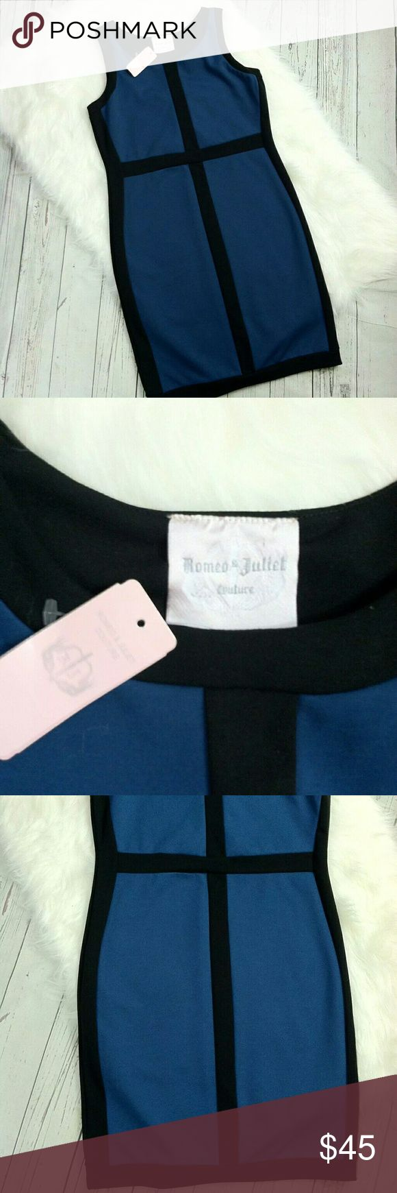 """Romeo & Juliet Couture Dress Sheath Sleeveless Romeo & Juliet Couture DressMedium SheathBlue BlackSleevelessCareer Style  Measurements pit to pit 17"""" length 35""""  New With Tags Romeo & Juliet Couture Dresses"""