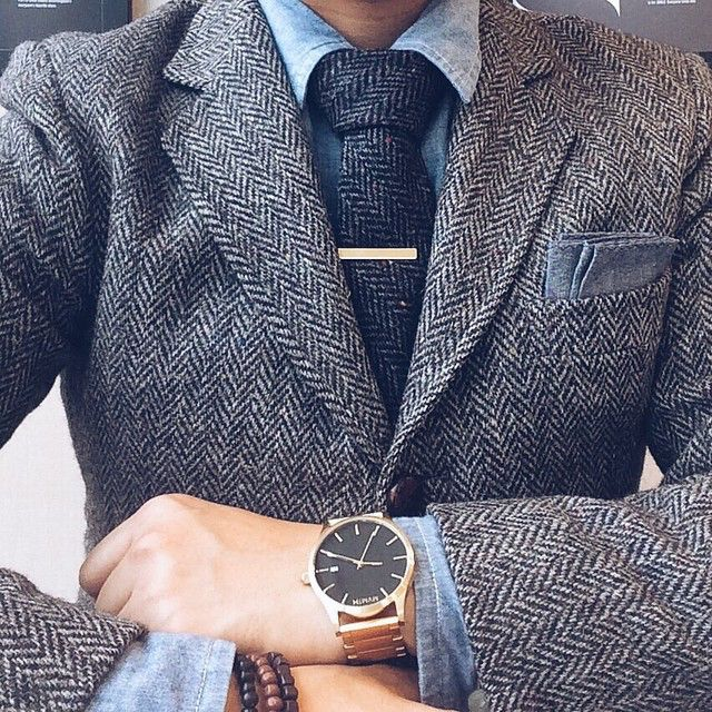 gold + tweed -- wool suit + tie, gold x black @mvmtwatches // menswear watch style + fashion