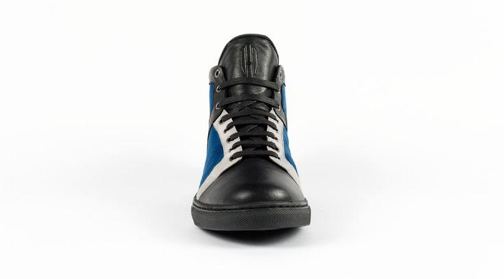 Baskets - Heritage-Paris - Nolita Montante - Blue Monday  #heritageparis #heritage #sneakers #kicks #shoes #nolita #hightop #baskets #luxury #basketacostume #blue #man