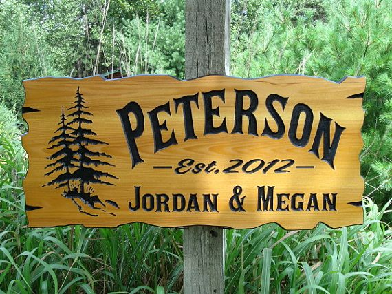 Personalized cabin signs 30 x 14 routed wood signs for Cabin signs wood