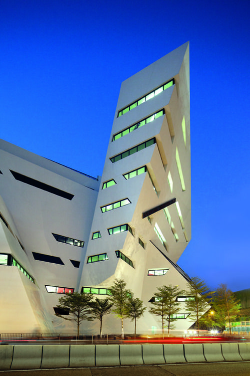 New York architect Daniel Libeskind designed this media centre for the City University of Hong Kong