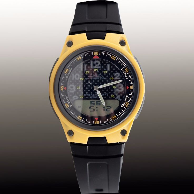 Casio Aw80-9Bv Yellow 30 Page Databank Watch Duo World Time Ana Digital 3 Alarms
