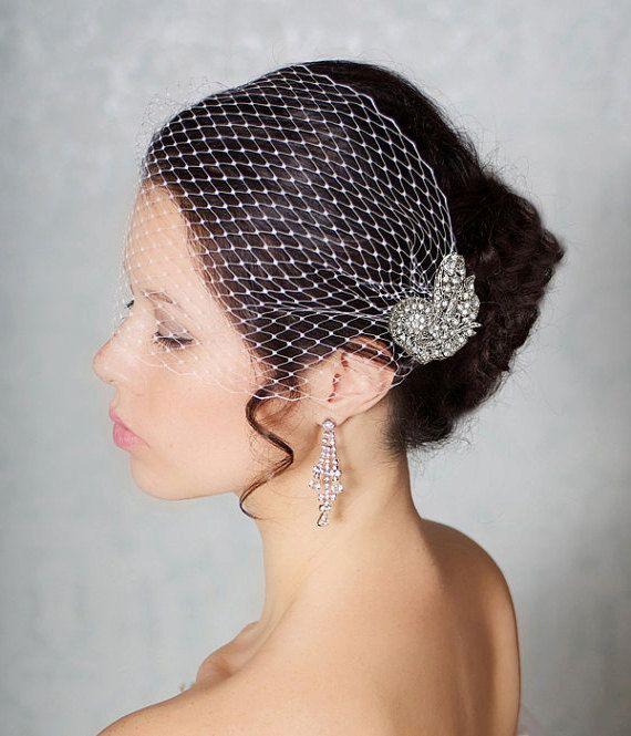 Bridal Veil with Crystal Comb, Bandeau Birdcage Veil, Blusher Bird Cage Veil, READY TO SHIP, Art Deco Comb with Detachable Veil, Bridal Comb...