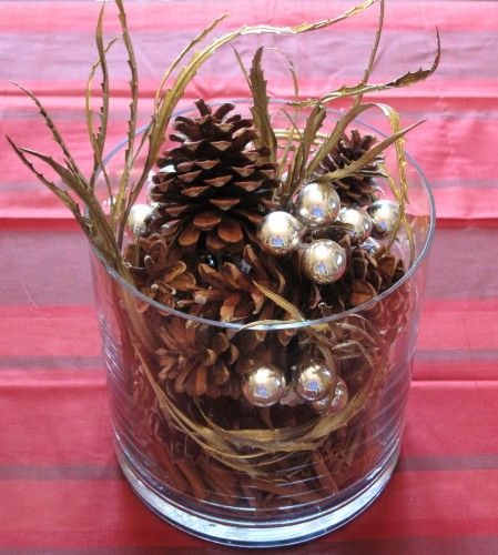 Cinnamon sticks and pinecones winter centerpieces