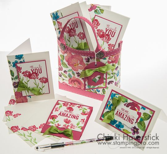 "Rose Red, painted blooms (Free PDF tutorial on her ""Instruction Sheets"" page; ""Pursebag with Notecards"")"