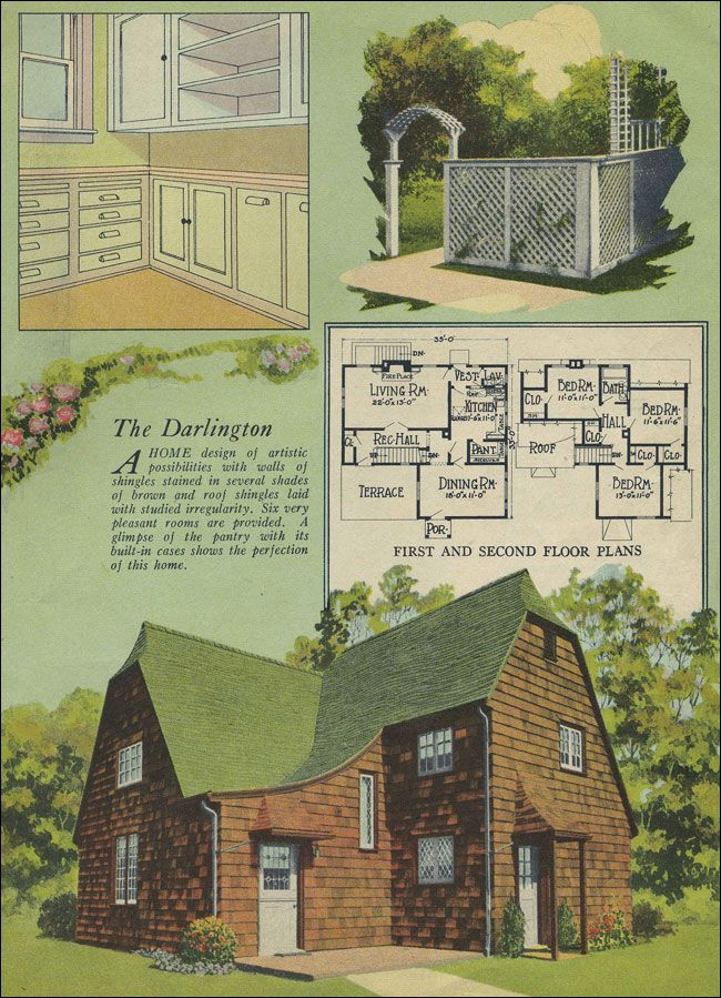 """1924 Radford Darlington  The Darlington has the steeply pitched, clipped gable roof that is seen on many English Cottage style homes, but the stained shingle siding and """"artistic"""" details, such as the catslide roof over the entry, is reminiscent of some the the earlier Arts & Crafts style homes."""