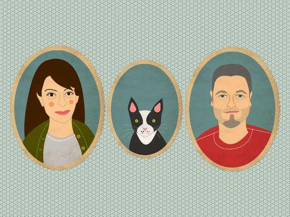 Custom portrait. Custom cartoon family portrait with pet. Bespoke illustration. Wedding portrait.