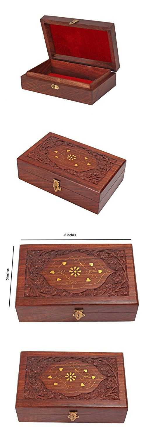 Rakhi Gift for Sister Decorative Wooden Jewelry Trinket Box Keepsake Organizer - Multipurpose Hand Carved with Brass Inlay