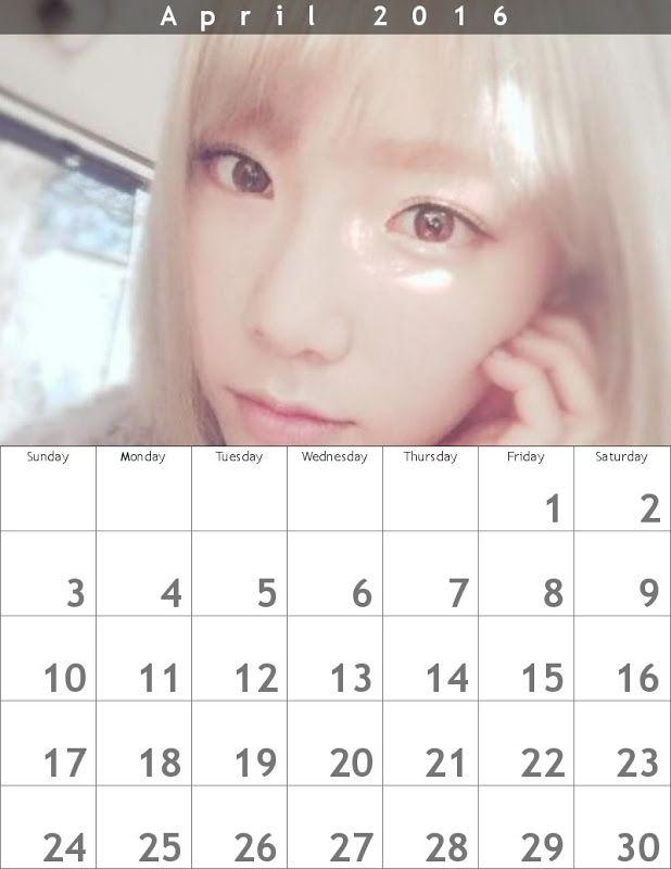 テヨン春のカレンダー618 x 800 ʕ・ᴥ・ʔღ 2016年4月 - Taeyeon Candy News ☺ Snsd