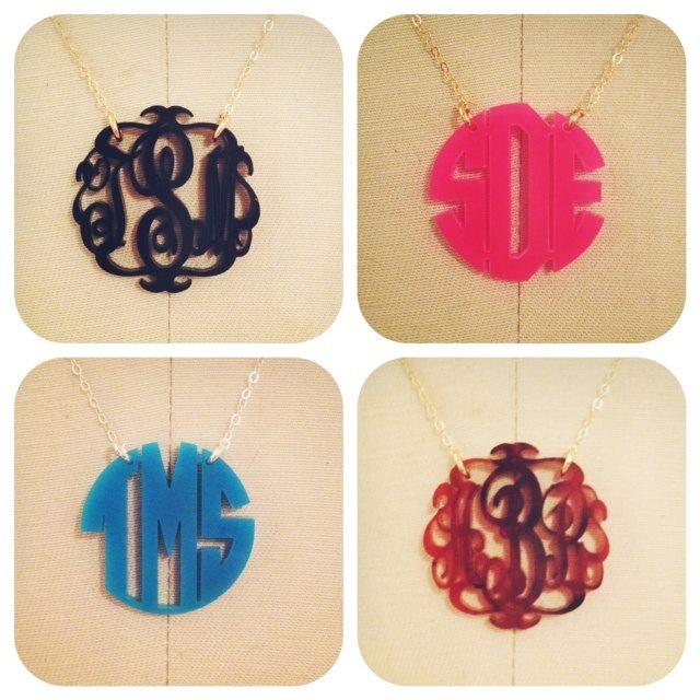 Acrylic Monogram Necklaces  www.charlottesinc.com  $58: Color, Moving Monogram, Monogram Necklaces