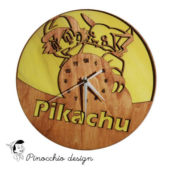 Pikachu design clock,Home Dיcor,Living Room Dיcor,Decorative Clock,Modern Clock,Gift for Him/Her,Design clock, kids clock, unique gift.