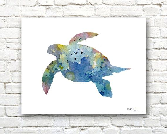 Tortue de mer Art Print - peinture aquarelle abstraite - Wall Decor by 1Gallery Above on Etsy