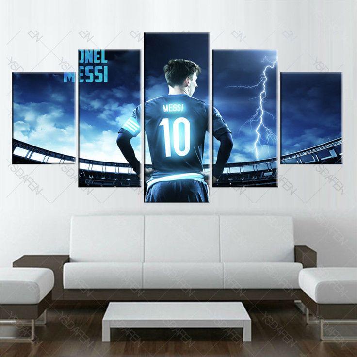 barcelona Messi Football Barcelona Sport Painting Canvas Wall Art Home Decor5pcs #FootballPourSalon #ArtDeco
