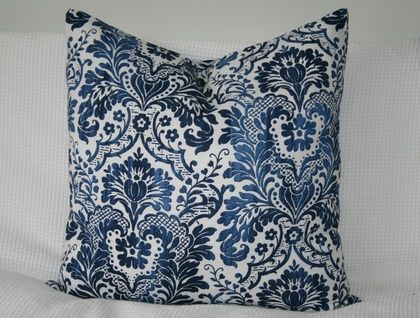Beautiful designer Damask cover, Classic Navy, Blue and White
