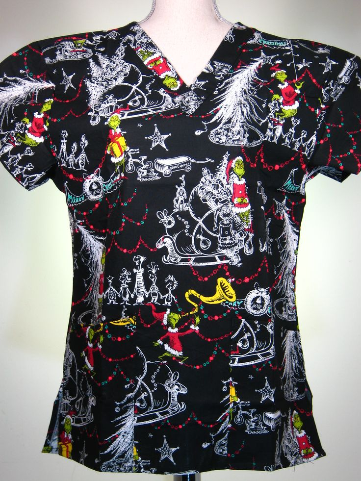 scrub top - Christmas, Dr. Seuss Grinch - #caringplus scrubs and uniforms - workwear clothing for nurses, caregivers and other healthcare professionals.  Perfect apparel for doctor's, dental and optician offices, nursing homes, rehab centers, vet clinics, animal hospitals, or medical labs.