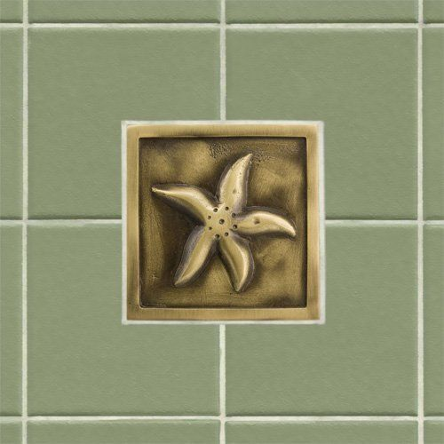 "4"" Solid Brass Wall Tile with Starfish Design - Burnished Brass by Whittington Collection. $19.95. Accent your kitchen or bath tile with this charming 4 wall tile. Made of solid brass, it features a quaint starfish design and is offered with an optional tile frame for a custom look. Made of solid brass. Measures 4-1/4 L x 4-1/4 W. Tile is 3/8 thick. Available with optional tile frame. (See multi image view). Tile frame measures 6 L x 6 W. Frame opening measures 4..."