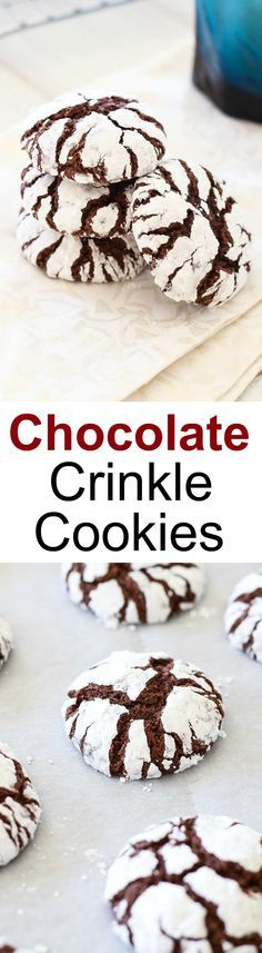 Chocolate Crinkle Cookies - the perfect holiday and Christmas cookies recipe. Homemade, sweet, beautiful with a chewy and rich texture | rasamalaysia.com