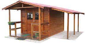 Casetta in legno da giardino 2.5x3 con tettoia laterale e veranda anteriore