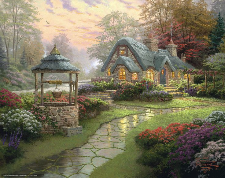 Скачать обои пейзаж, живопись, лес, цветы Papis из grtis стены разрешением 2390x1891 - картинка №345283