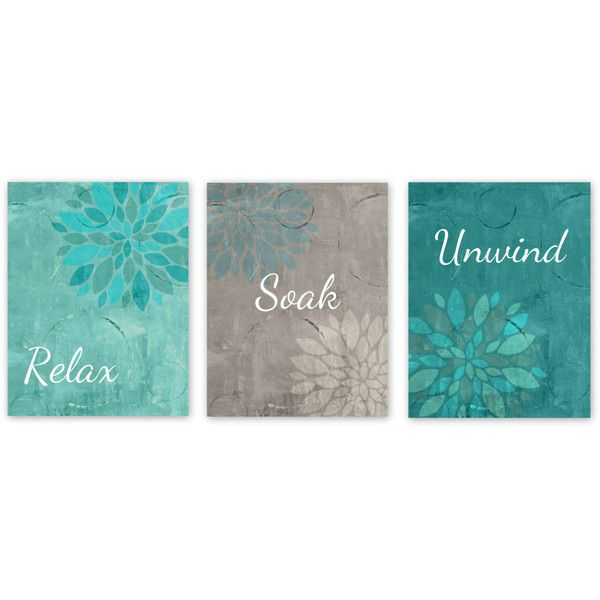 Bathroom Wall Decor Teal Bathroom Decor Turquoise Grey Bathroom Art... ($12) ❤ liked on Polyvore featuring home, home decor, wall art, bathroom, bathroom décor, grey, home & living, teal wall art, unframed wall art and teal home accessories