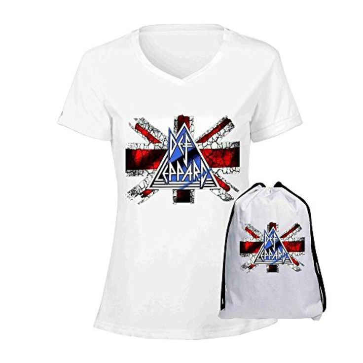 ENNUO Womens Def Leppard Heavy Metal Band V Neck Cotton T Shirt White - Brought to you by Avarsha.com