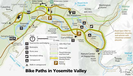 Over 12 miles of paved bike paths are available in Yosemite Valley. In addition, bicyclists can ride on regular roads (if they obey traffic laws). Helmets are required by law for children under 18 years of age.    Off-trail riding, mountain biking, and use of motorized bicycles or scooters on bike pathsare not permitted in Yosemite National Park.  Bicycles are available for rent in Yosemite Valley.  For more family fun www.thefamilysavvy.com