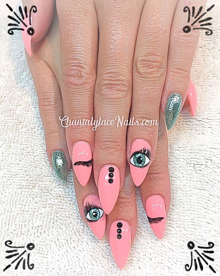 nail art,  eye candy, winky eyes nail art