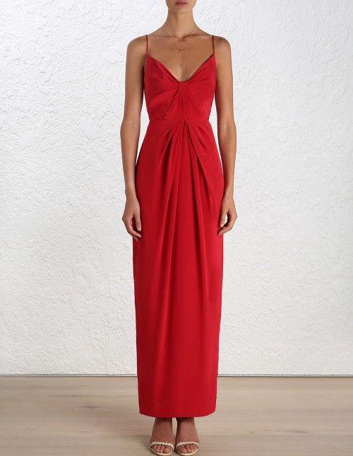 Silk Folded Long Dress