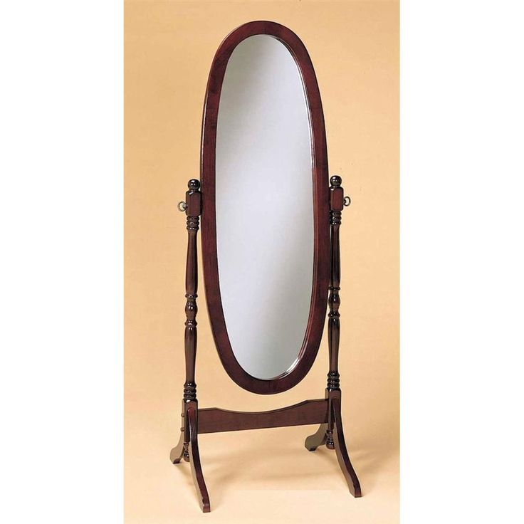 Cherry Finish Oval Cheval Mirror Full Length Solid Wood Floor Mirror | The Fancy Home Accents