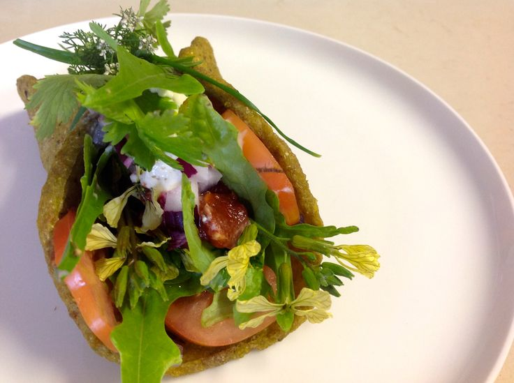 Raw Soft Taco with Garden Greens, Spicy Jalapeño Sauce and Cashew Sour Cream