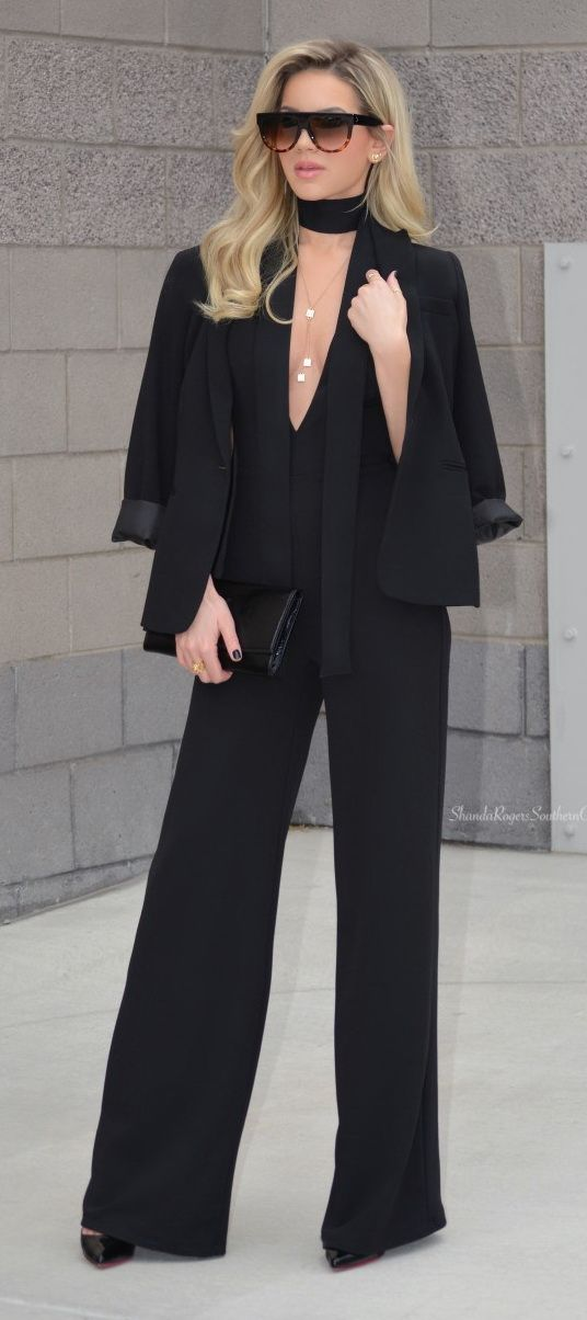 @roressclothes closet ideas #women fashion outfit #clothing style apparel All Black Chic